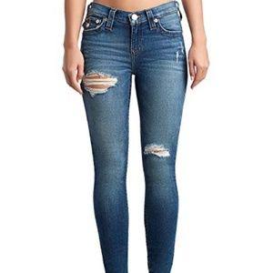 True Religion Halle Ankle Distressed Skinny Jean